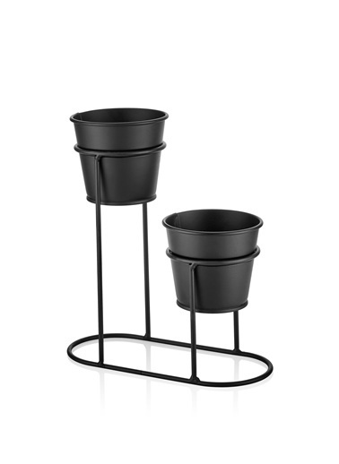 The Mia Saksı2 Li Set - Siyah Siyah